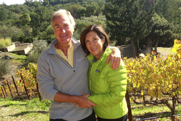 Famed winemakers Cheryl and Ric in their Napa Valley vineyard.