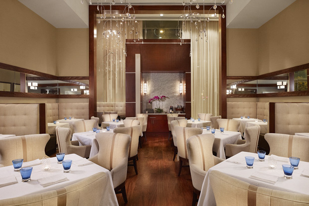 """The Main Dining Room at Congress, an upscale Downtown Austin restaurant spotlighting chef David Bull's """"over-the-top"""", """"no-holds-barred"""" New American creations."""