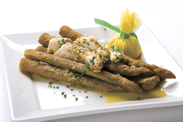 Perry's Signature Fried Asparagus topped with jumbo lump crabmeat