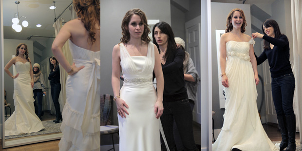 Our bride trying on a few different gowns before deciding on the one!