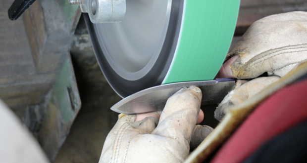 This is the most important stage of making a knife... grinding the hollow bevels free hand.