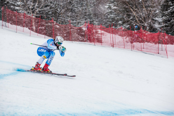 Wiley Maple speeds down Narrow Gauge on his way to winning the men's US Alpine Championships downhill event.