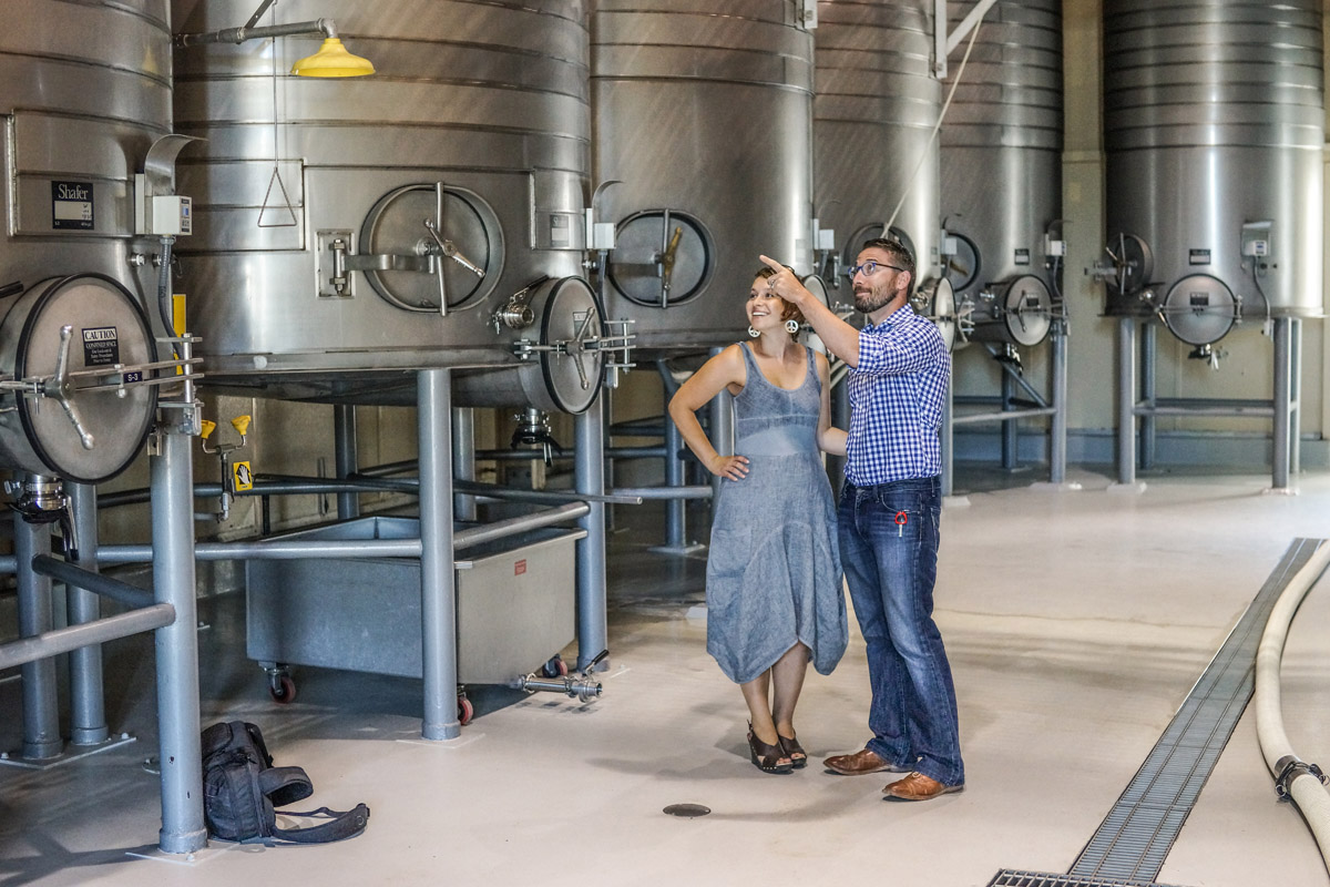 Jenna Bostock and Brian Aitken of Alister & Paine Magazine at Shafer Vineyard