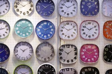 HONG KONG - SEPTEMBER 04:  Wall clocks are displayed on the Zhang Zhou Guoda Trading Co Limited stand at the Hong Kong Watch And Clock Fair on September 4, 2013 in Hong Kong, Hong Kong.  (Photo by Jessica Hromas/Getty Images)